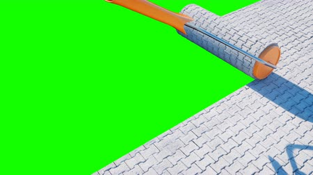 paving : A roll of paving slab. Brush of paving slab. Building concept. Realistic 4K animation. Green screen.