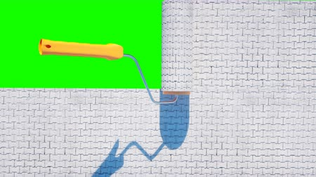 paving blocks : A roll of paving slab. Brush of paving slab. Building concept. Realistic 4K animation. Green screen.