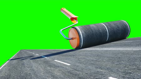 viagem por estrada : A roll of asphalt. Brush of road. Transport concept. Realistic 4K animation. Green screen.