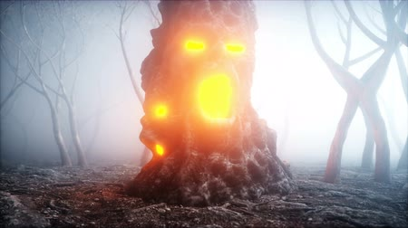 demons : stone screaming head in fog night forest. Fear and horror. Mistyc concept of halloween. Realistic 4K animation.