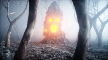 маска : stone screaming head in fog night forest. Fear and horror. Mistyc concept of halloween. Realistic 4K animation.