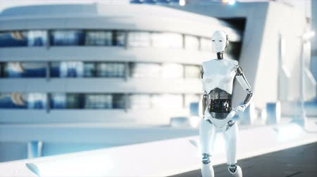 робот : Female robot walking. Futuristic city, town. People and robots. Realistic 4K animation.