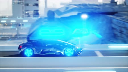 electric vehicle : black futuristic electric car very fast driving in sci fi sity, town. Concept of future. Realistic 4k animation.