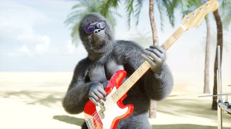 sea monkeys : Funny gorillas and monkeys play on guitar and drums. Rock party on sunny seaside. Realistic 4K animation.