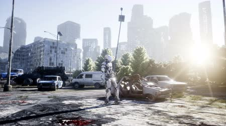 bilim : Military robot in destroyed city. Future apocalypse concept. Realistic 4k animation.