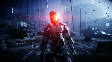 ordu : Military robot in destroyed city. Future apocalypse concept. Realistic 4k animation.