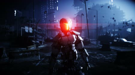 harcos : Military robot in destroyed city. Future apocalypse concept. Realistic 4k animation.