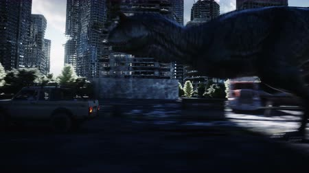 gigantikus : dinosaur rex running behind the car in destroyed city. Dinosaurs apocalypse. Concept of future. Realistic 4K animation. Stock mozgókép