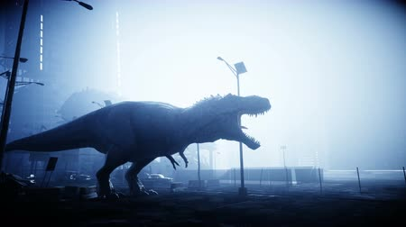 gigantikus : terrible dinosaur trex in the night destroyed city. Apocalypse concept. Realistic 4K animation.