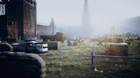 campo de batalha : Apocalypse of Russia. Aerial View of the destroyed Moscow city, red square. Apocalypse concept. Super realistic 4k animation. Vídeos