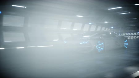futuristic car fast driving in sci fi tunnel, coridor. Concept of future. Realistic 4k animation.