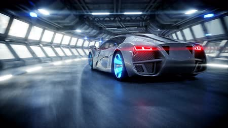 letecký : futuristic car fast driving in sci fi tunnel, coridor. Concept of future. Realistic 4k animation.