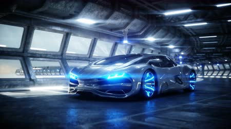 futuristic car in sci fi tunnel, coridor. Concept of future. Realistic 4k animation.