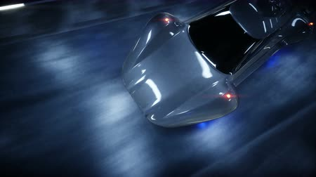 futuristic flying car fast driving in sci fi tunnel, coridor. Concept of future. Realistic 4k animation.