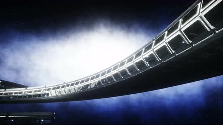spaceship : People in futuristic space corridor, room. view of the earth. cinematic 4k footage.