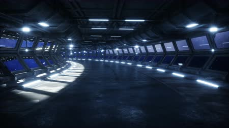 futuristic space corridor, tunnel. flight view of the earth. Cinematic 4k animation.