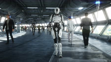 People and robots. Sci fi tonnel. Futuristic traffic. Concept of future. Realistic 4K animation. Vídeos
