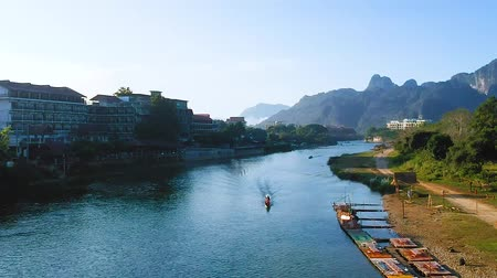 Лаос : Seong River view, Laos in the morning with nice view up stream of the river and ship.
