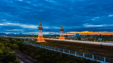 khammouane : Time lapse Beautiful light at third Thai-Laos relationship bridge, is over the Mekong that connects Nakhon Phanom Province in Thailand with Thakhek, Khammouane in Laos