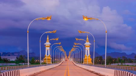 the mekong : Time lapse friendship bridge no.3 at Nakhonphanom province,Thailand Stock Footage