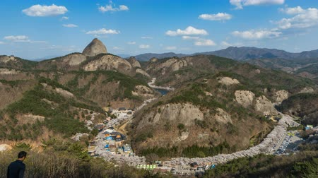 korejština : View of mountains,Sherry blossoms festival in Jinan city, South Korea