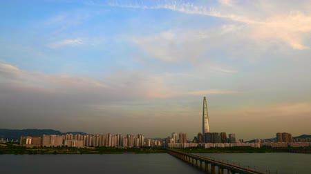 han river : Sunset and reflection at river in Seoul, South Korea