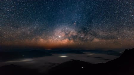 chi : Milky Way time lapse at Doi pha tang,Northern Thailand Stock Footage