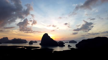gyertyafa : Time lapse Aerial view Phang Nga bay at sunrise with mangrove tree forest and hills in the Andaman sea, Phang nga,Thailand Stock mozgókép
