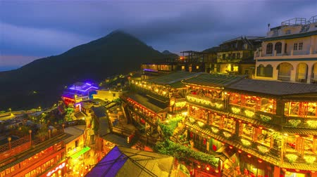 taipei : Time lapse Hillside teahouses in Jiufen,Ruifang, Taiwan Stock Footage