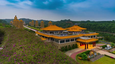 павильон : Time lapse Scenic view of Fo Guang Shan Buddha memorial center Kaohsiung Taiwan Стоковые видеозаписи