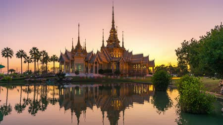 wat pho : Time lapse of Buddhist temple with reflection on water landmark of Nakhon Ratchasima Province, Thailand