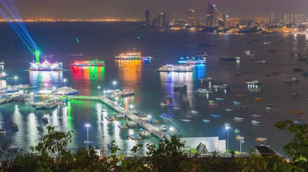 phra : Time lapse Pattaya port with ferry of Thailand on night time Stock Footage