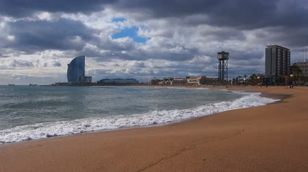 Каталония : Barceloneta Beach and Cityscape of Barcelona, Catalonia, Spain Стоковые видеозаписи