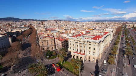 urban skyline : Aerial view of Barcelona, Catalonia, Spain Stock Footage