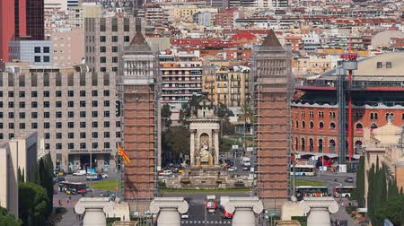 Каталония : Placa Espanya - Spanish Square in Barcelona, Catalonia, Spain Стоковые видеозаписи