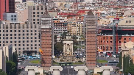 Барселона : Placa Espanya - Spanish Square in Barcelona, Catalonia, Spain Стоковые видеозаписи