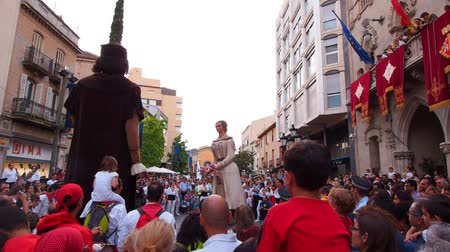 festa : Festa Mayor de Terrassa 2013. Big Catalan Party with many Traditional Parades and Shows. Stock Footage