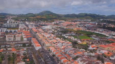 azorean : Ponta Delgada – view through the plane window, Island of Sao Miguel, Azores, Portugal