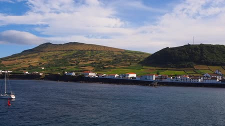azorean : Caldeira – view from ferry leaving Praia on Graciosa Island, Azores, Portugal Stock Footage