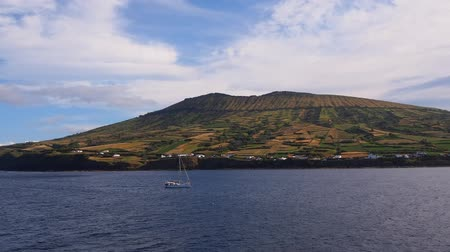 caldeira : Caldeira – view from ferry leaving Praia on Graciosa Island, Azores, Portugal Stock Footage