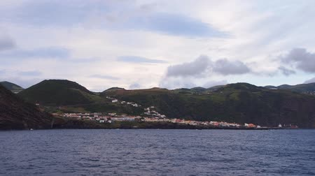 azorean : Velas – main port on Sao Jorge Island – view from the ferry, Azores, Portugal