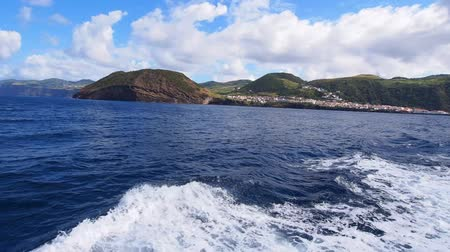 azorean : Ferry leaving Velas – main port on Sao Jorge Island – view from the ferry, Azores, Portugal Stock Footage
