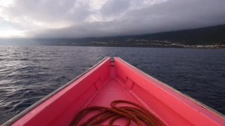 azorean : Traditional Whaling Boat arriving to Lajes on Pico Island, Azores, Portugal Stock Footage