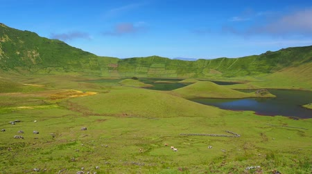 azorean : Caldeirao Crater and Lake on Corvo Island, Azores, Portugal