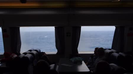 kötü : View through the window of the ferry going from Sao Miguel to Terceira Island, Azores, Portugal