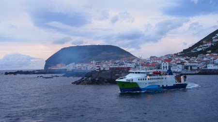 azorean : View from the ferry arriving to Velas – main port Sao Jorge Island, Azores, Portugal Stock Footage