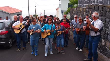 azorean : Unidentified people participating in Festa do Espirito Santo – Holy Spirit Festival in Manadas on Sao Jorge Island, Azores, Portugal