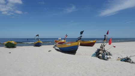 fishermen : Poland, Jantar, View of the Fishermen Boats on Beach and the Baltic Sea.