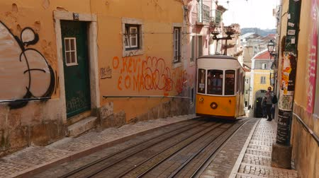 lisboa : Portugal, Lisbon, View of the Bica Funicular. Vídeos