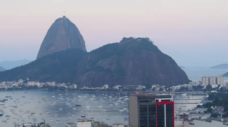 rio de janeiro state : Brazil, City of Rio de Janeiro, View over Botafogo Neighbourhood towards the Sugarloaf Mountain. Stock Footage